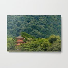 Japanese forest temple Metal Print