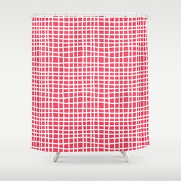 sun kissed coral random cross hatch lines checker pattern Shower Curtain