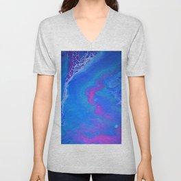 Fantasy II - Bright Sapphire Blue Ultra Violet Purple Fluid Abstract Unisex V-Neck