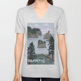 Olympic National Park Poster, Washington, illustrated National Parks USA Unisex V-Neck