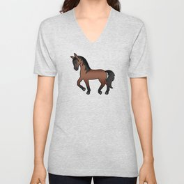 Bay Trotting Horse Cute Cartoon Illustration Unisex V-Neck