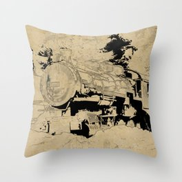 Vintage Steam Train on Postage Stamp Throw Pillow