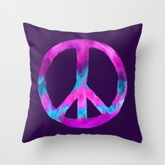 Purple Turquoise Watercolor Tie Dye Peace Sign on Purple Throw Pillow