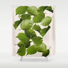 Green Leaves Falling Shower Curtain