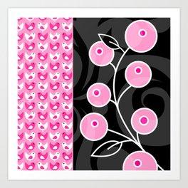 Pink Birds and Berries Pattern Pring Art Print