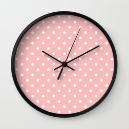 Powder Pink with White Polka Dots Wall Clock
