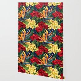 Tropical Paradise Hawaiian Floral Illustration Wallpaper