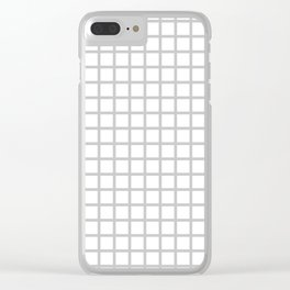 Grid (Gray & White Pattern) Clear iPhone Case