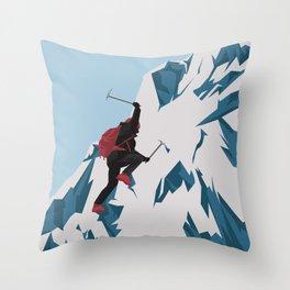 Climb Snow Mountain Throw Pillow