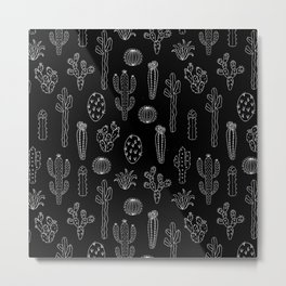 Cactus Silhouette White And Black Metal Print