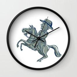 American Cavalry Officer Riding Horse Prancing Cartoon Wall Clock
