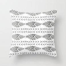 Mudcloth black and white linocut pattern geometric minimal modern trendy design Throw Pillow
