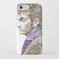 david tennant iPhone & iPod Cases featuring David Tennant Dr. Who Text portrait by Mike Clements
