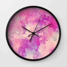 Abstract pink ivory teal watercolor brushstrokes pattern Wall Clock
