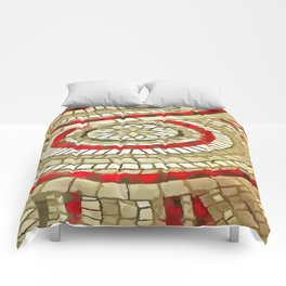 Mosaic Circular Pattern In Red and Gold Comforters