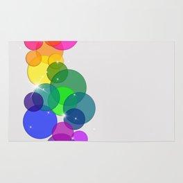 Translucent Rainbow Colored Circles Digital Illustration - Multi Colored Artwork Rug