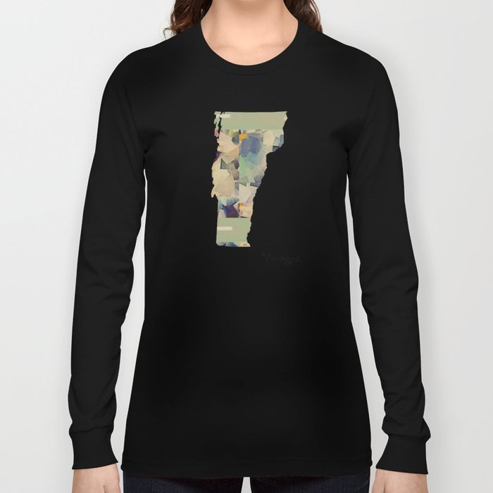 Vermont state map Long Sleeve T-shirt