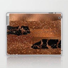 Girly Copper Coffee Glamour Glitter Metal Stripes   Laptop & iPad Skin