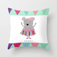 hawaii Throw Pillows featuring hawaii by Sucoco