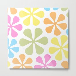 Abstract Flowers Bright Color Mix Metal Print