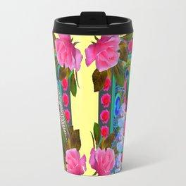 PINK ROSES & GREEN PEACOCK YELLOW GARDEN FLORAL ABSTRACT Travel Mug