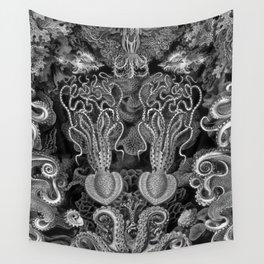 The Kraken (Black & White - No Text) Wall Tapestry