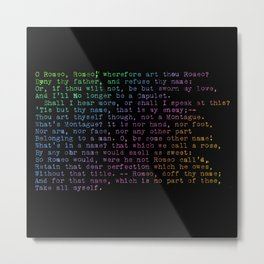 Rainbow Shakespeare! (Balcony Scene, Black Background) Metal Print