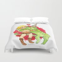 he man Duvet Covers featuring He-Man Hug by Super Group Hugs