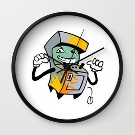Arcade Machine Game Cartoon. Wall Clock