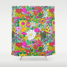 60's Groovy Garden in Blue Shower Curtain