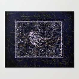 Gemini, Constellation map, Zodiac, Sign sky, Stars, Universe, astrology, astrological, signs, birth Canvas Print