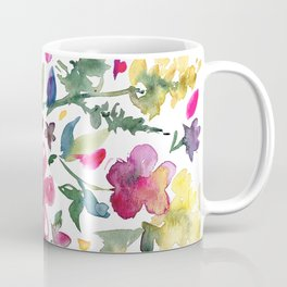 Tranquil Purple Pink and Yellow Watercolor Florals Coffee Mug