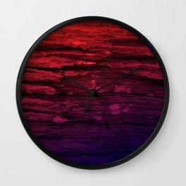 Red & Purple Wood Tree Bark Grunge Wall Clock