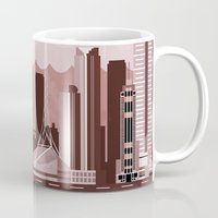 melbourne Mugs featuring Melbourne Travel Poster Illustration by ClaireIllustrations
