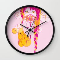 feminism Wall Clocks featuring Feminism by Something Quiet