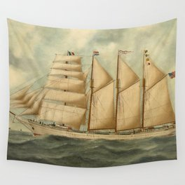 Vintage Illustration of a Large Sailing Yacht (1919) Wall Tapestry