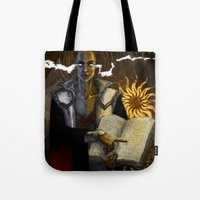 "dragon age Tote Bags featuring Dragon Age - Truth by Barbara ""Yuhime"" Wyrowińska"