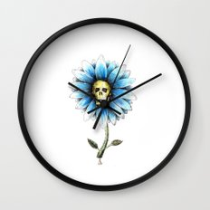 skull daisy Wall Clock