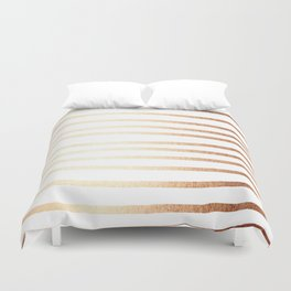 Simply Drawn Stripes Deep Bronze Amber Duvet Cover