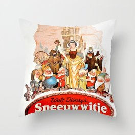 Rare 1937 Dutch Issue Lobby Movie Poster of Snow White and the Seven Dwarfs Throw Pillow