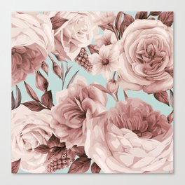 SEPIA ROSES ON GREEN Canvas Print