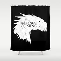lotr Shower Curtains featuring The darkness is coming by Li.Ro.Vi