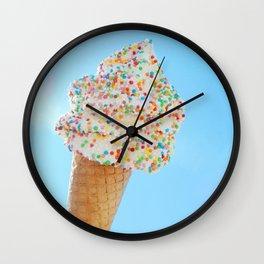 Summer ice cream with rainbow sprinkles Wall Clock