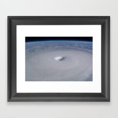 Hurricane from space Society6 planet prints Framed Art Print