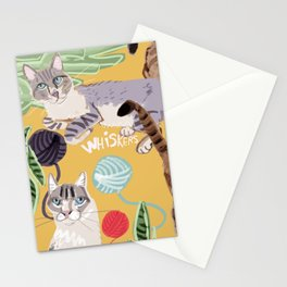 Ragdoll Cats pattern in yellow Stationery Cards