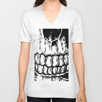 teeth V-neck T-shirts featuring Teeth by Mike Hague Prints