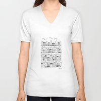 baloon V-neck T-shirts featuring Cityscape from baloon flight by posterilla