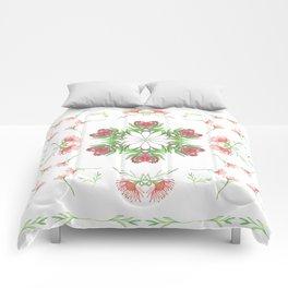 Symmetrical watercolor fynbos pattern Comforters