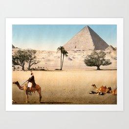 Vintage Pyramid : Grand Pyramid Gizeh Egypt 1895 Art Print