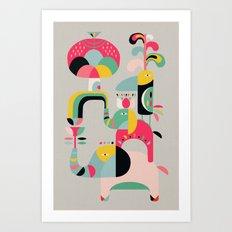 Jungle of elephants Art Print